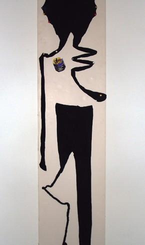 Eva Tauchen: peinlich-beinlich Objekt Strumpfhosen auf Schaumplatte 173X34,5cm