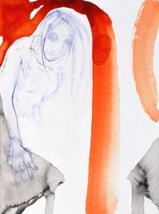 Berühren, 2018, Tusche auf Aquarellpapier, 32 x 24 cm